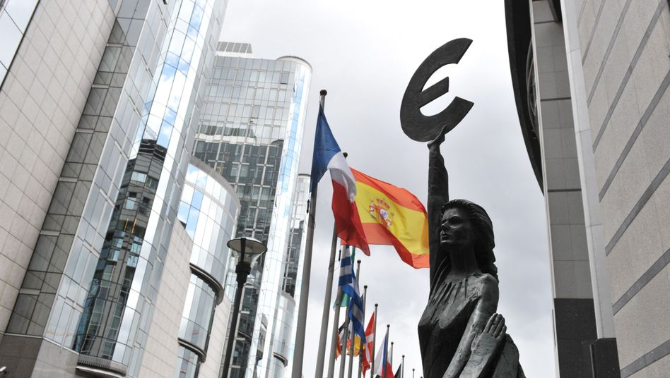 The European Parliament building in Brussels: Euro-zone member states have agreed to a declaration that will allow the permanent bailout fund to start its work soon.