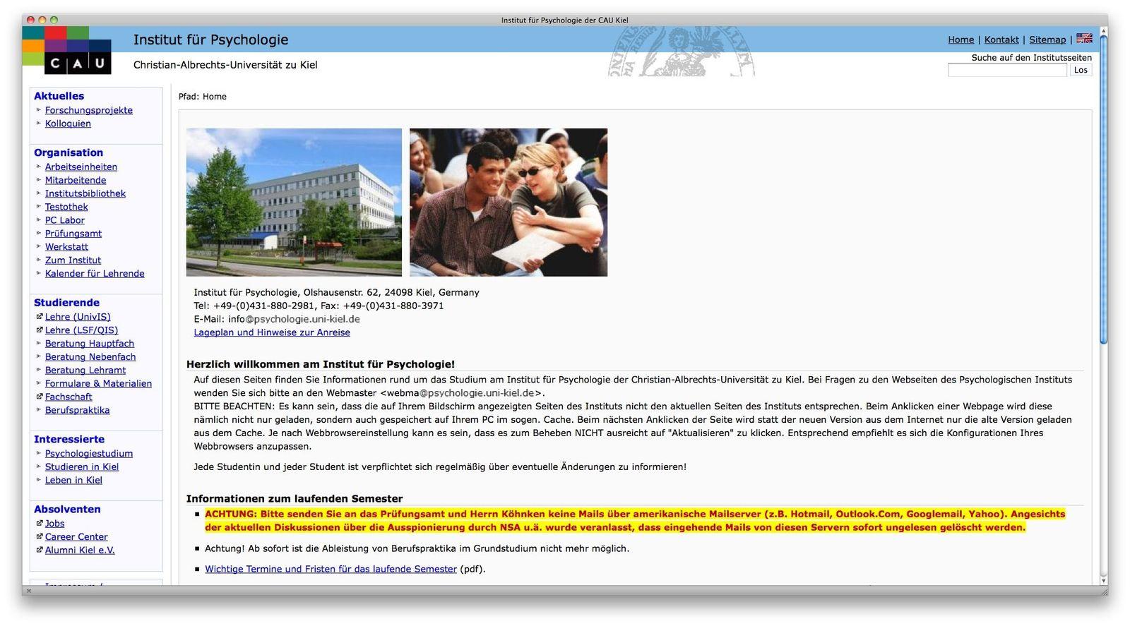 EINMALIGE VERWENDUNG NUR ALS ZITAT Screenshot/ Christian-Albrechts-Universität zu Kiel