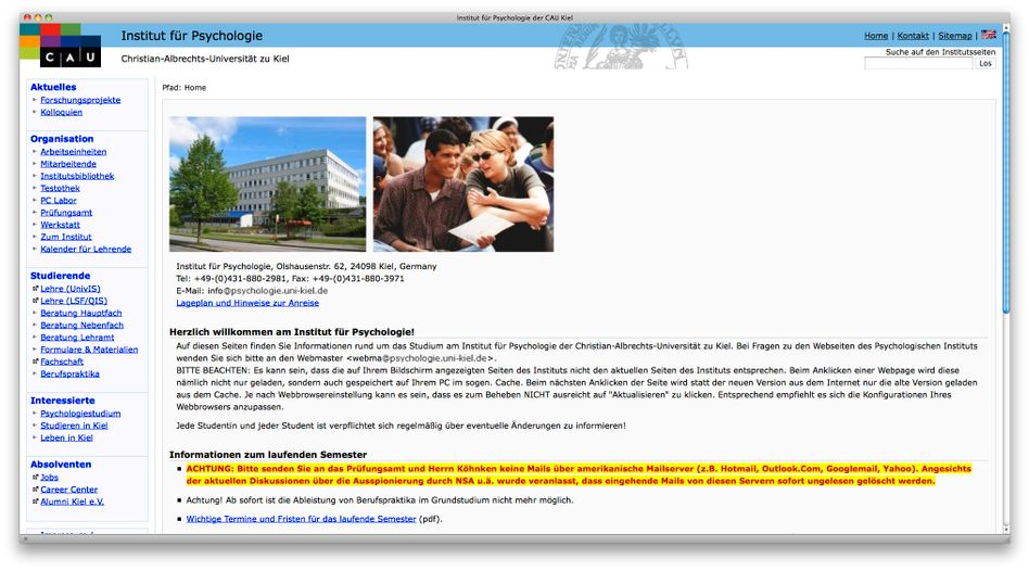 """Hinweis auf Kieler Uni-Seite: """"Bitte senden Sie keine Mails über amerikanische Mailserver"""""""