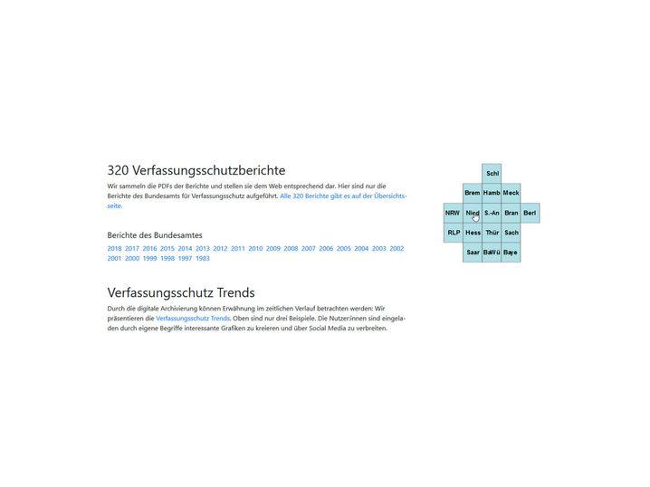 """Screenshot von """"Verfassungsschutzberichte.de"""""""
