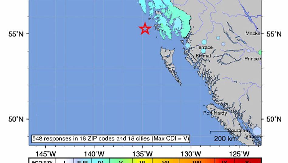Grafik der US-Erdbebenwarte: Das Beben ereignete sich vor der West-Küste Alaskas