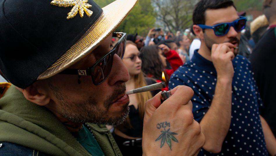 Demo für die Legalisierung von Cannabis in New York 2018