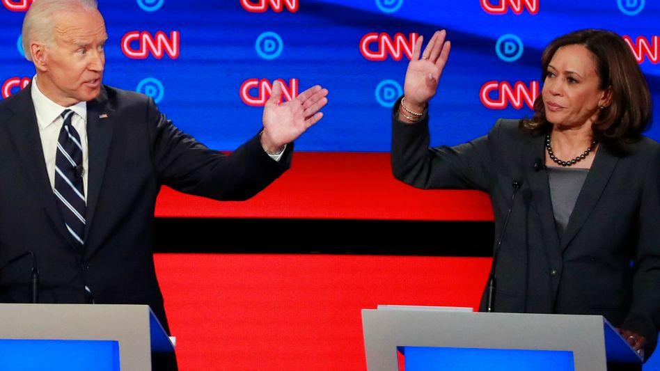 Joe Biden muss sich vor allem gegen Attacken von Kamala Harris wehren