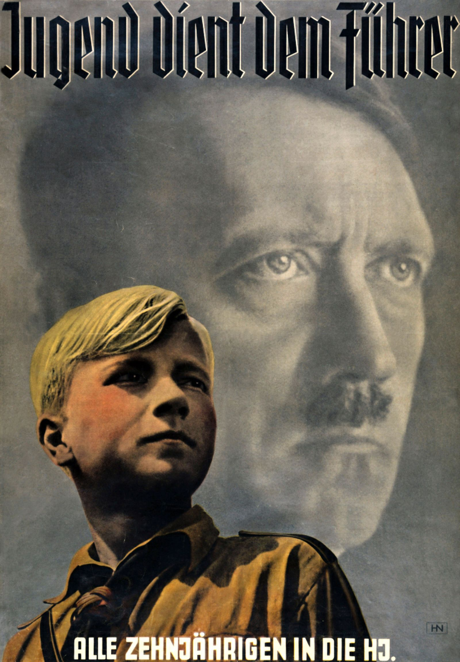 Youth serves the Fuhrer' 'All 10-year olds in the Hitler Youth'. Hitler youth Poster circa 1936.