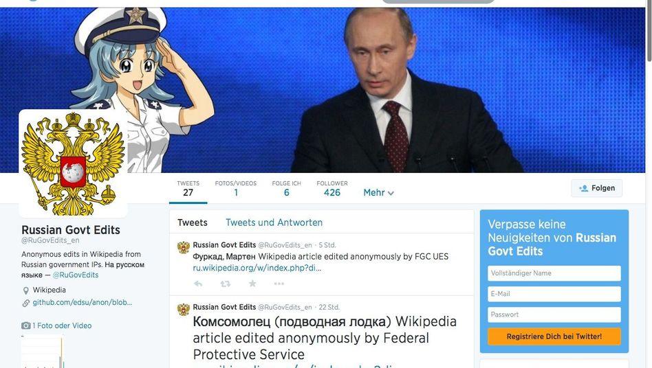 Twitter-Account @RuGovEdits (hier in einer englischen Version): Hinweise auf verdächtige Wikipedia-Artikeländerungen