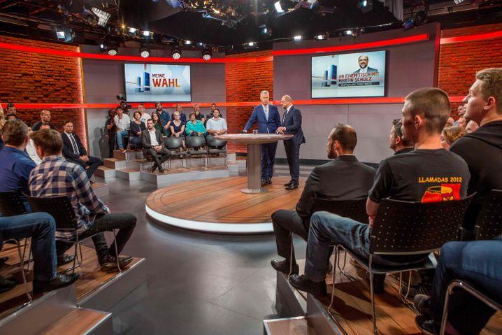 Schulz im TV-Studio von RTL