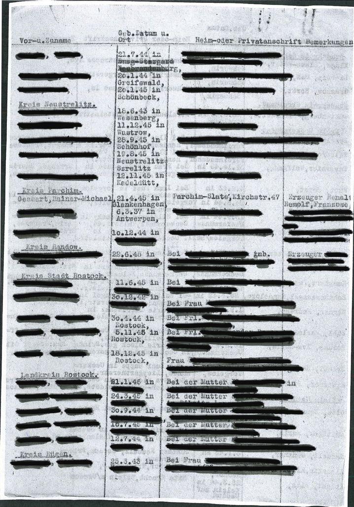 Liste im Schweriner Archiv (Signatur: Best. 6.11-21 Nr. 3936)