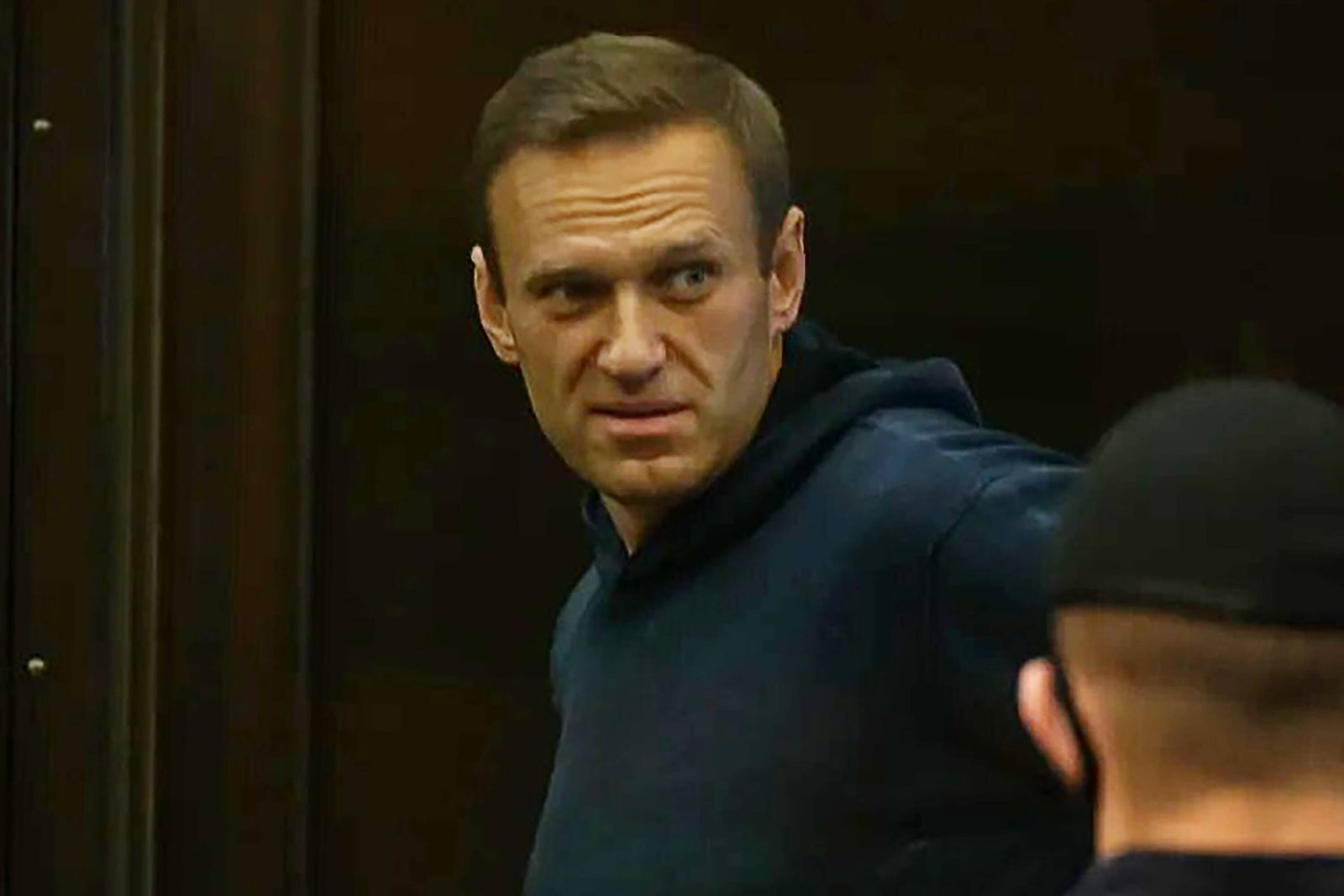 MOSCOW, RUSSIA FEBRUARY 2, 2021: Opposition activist Alexei Navalny appears at Moscow City Court for a Simonovsky Dis