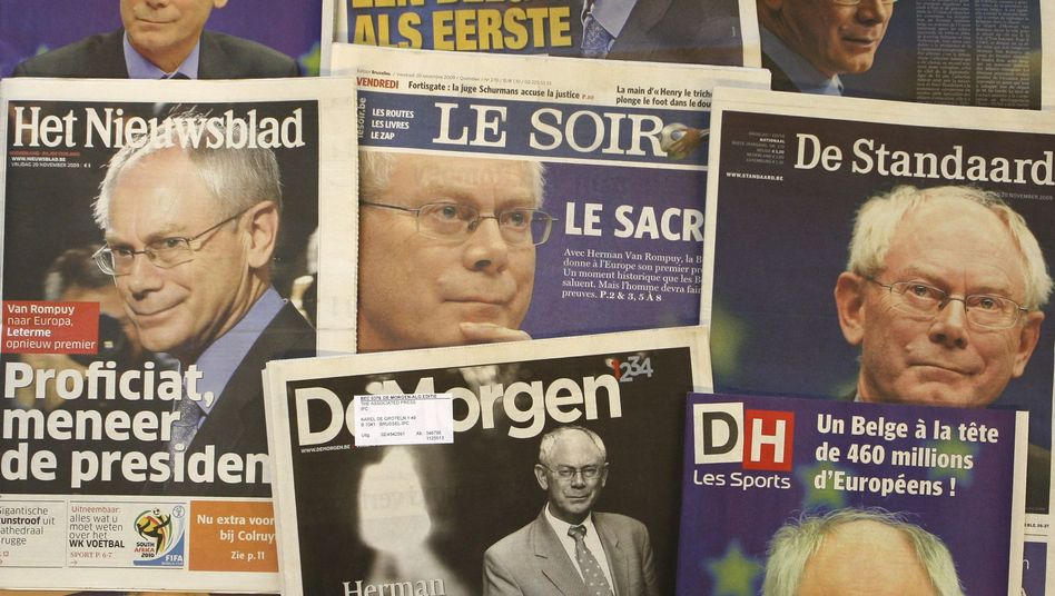 Belgian newspapers show the new European Council President Herman Van Rompuy on their front pages.