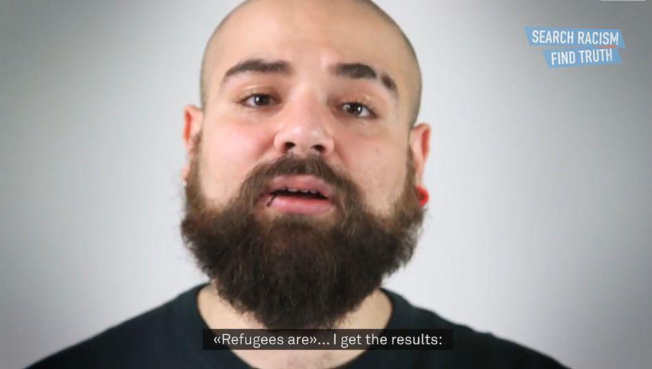 Screenshot eines Kampagnenvideos mit Firas aus Syrien