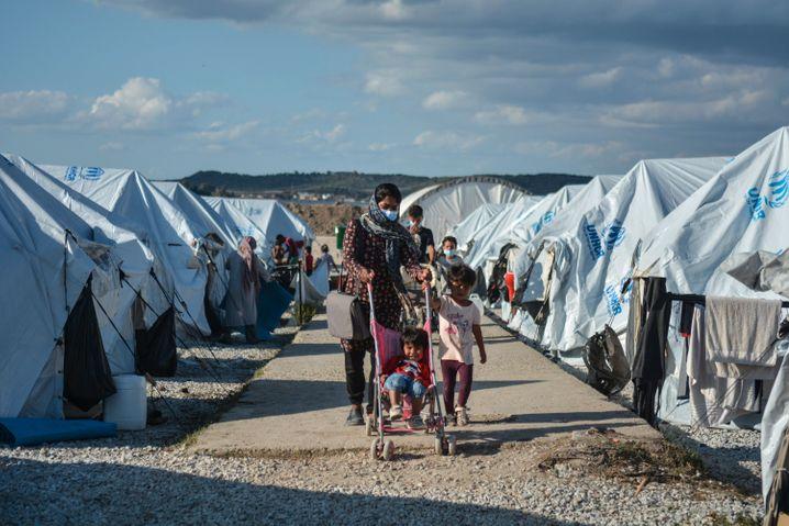 Im Oktober waren große Teile des neu aufgebauten Camps Kara Tepe auf Lesbos überschwemmt