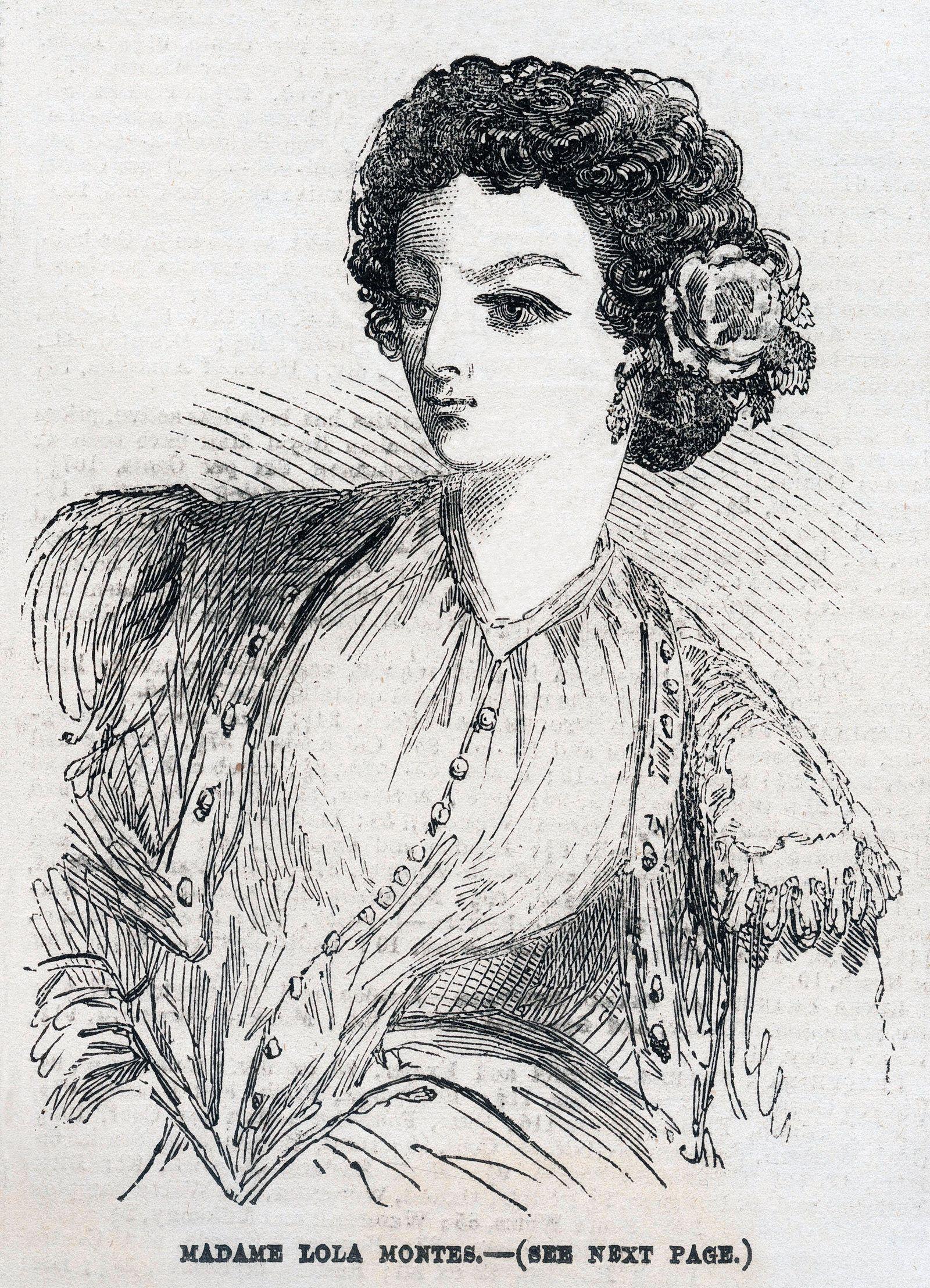 Lola MONTES Madame Lola MONTES (1818-1861). Illustration anonyme pour L Illustrated London News du 26 janvier 1856. Cred