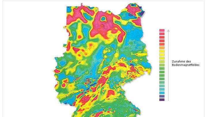 Neue Karte: Magnetfelder, die sich durch Deutschland ziehen