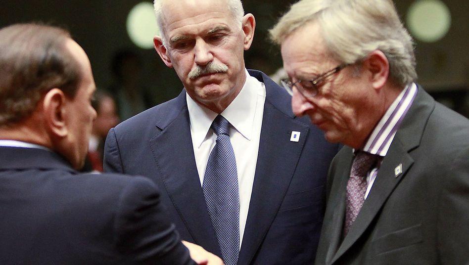 Regierungschefs Berlusconi, Papandreou, Juncker: Überraschender Vorstoß aus Athen