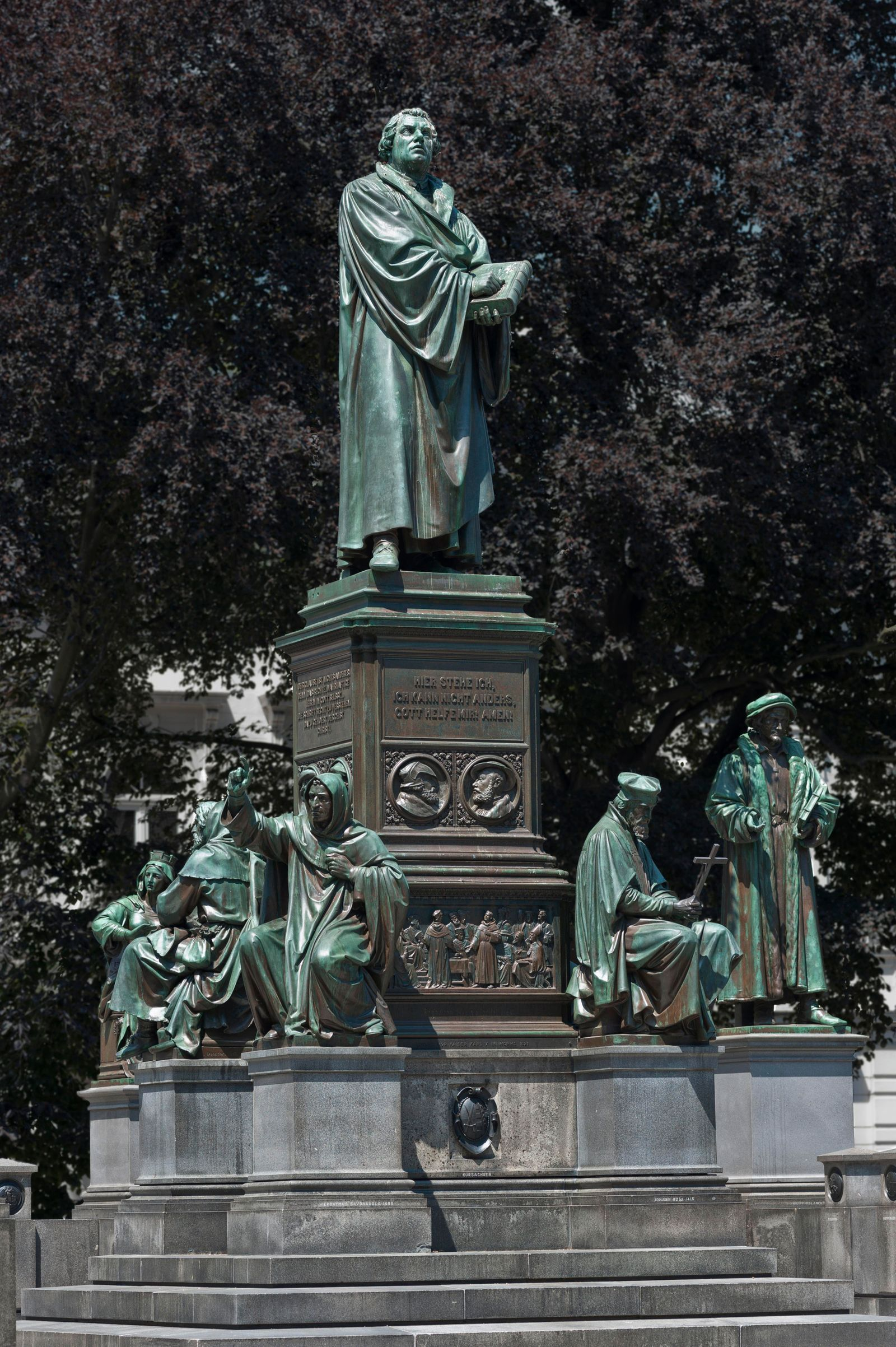 Luther Memorial, or Reformation Monument, detail, middle part depicting Martin Luther, 1868, design by Ernst Rietschel, Worms, Rhineland-Palatinate, Germany, Europe