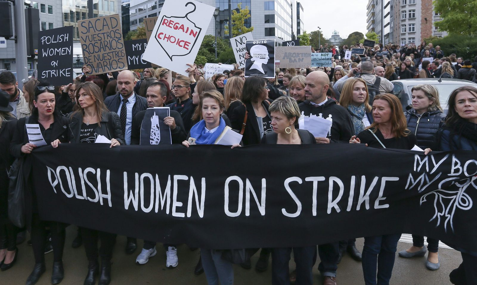 Polish protesters during the nationwide women strike