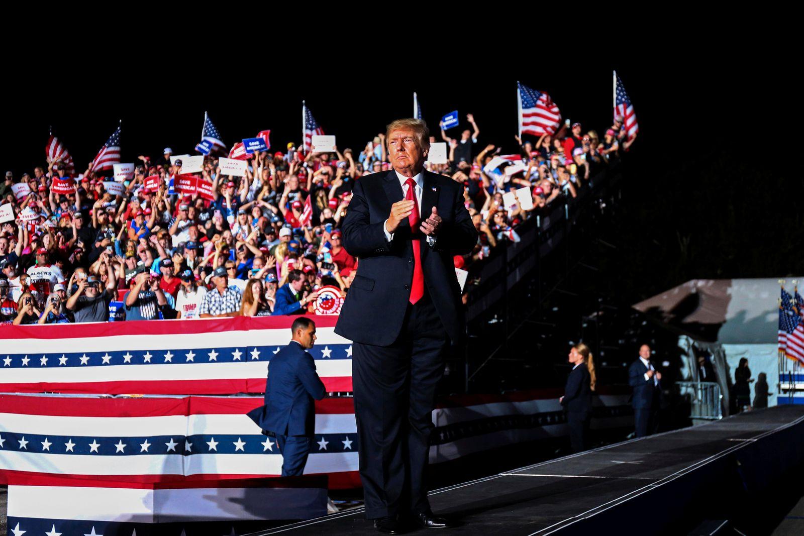 Former U.S. President Trump holds rally in Iowa