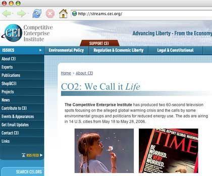 CEI-Website mit Videos: Lobby der Klimawandel-Skeptiker