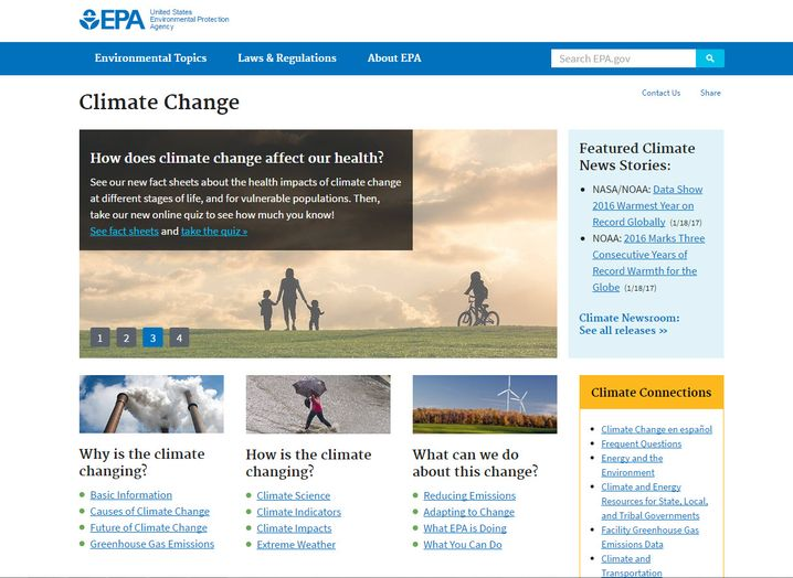 Klima-Seite der US-Umweltschutzbehörde EPA