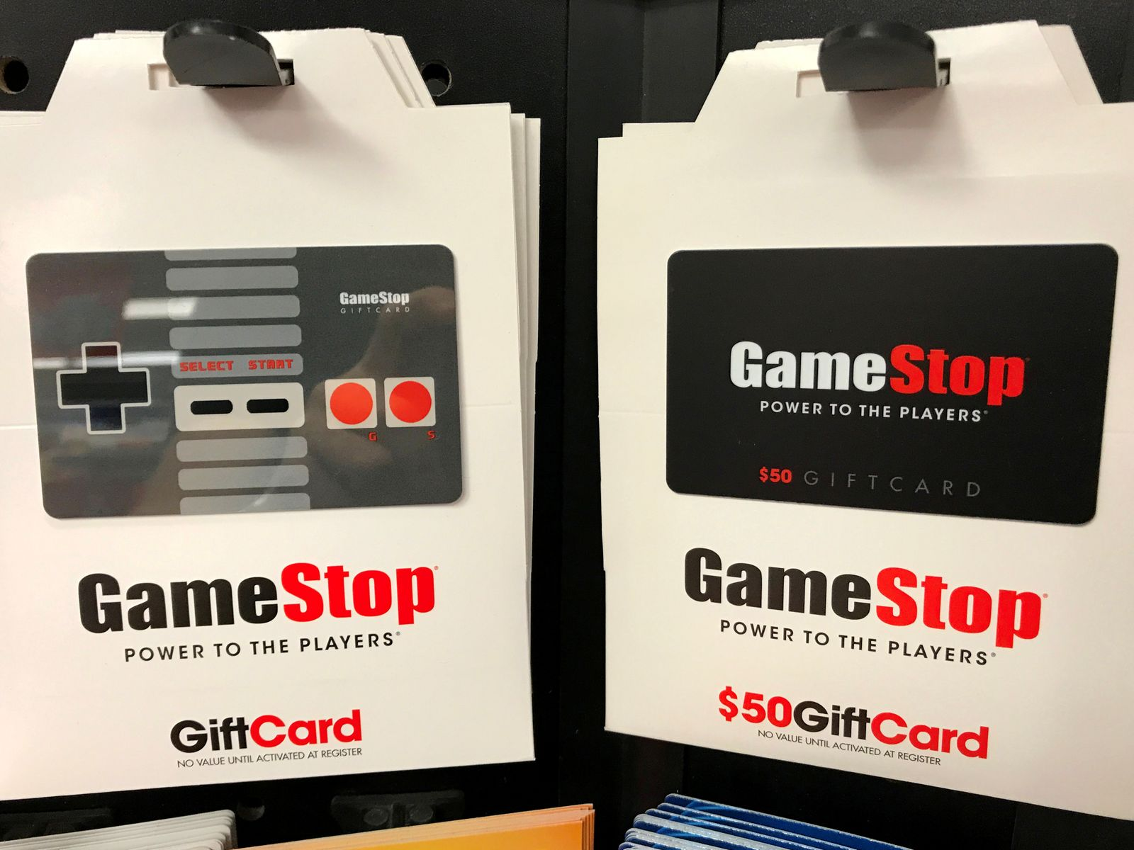 FILE PHOTO: GameStop gift cards are shown for sale at a GameStop Inc. store in Encinitas, California