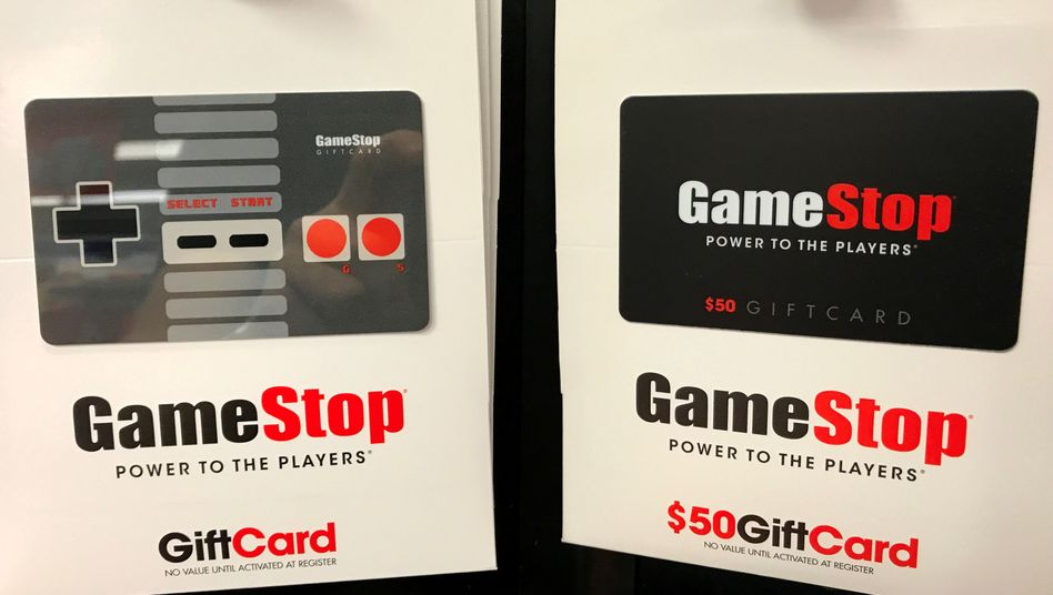 Mit solchen Geschenkkarten können GameStop-Ladengeschäfte in der Corona-Pandemie kaum Geld verdienen – dank einem Schwarm von Kleinanlegern steigt die Aktie trotzdem (Archivbild)