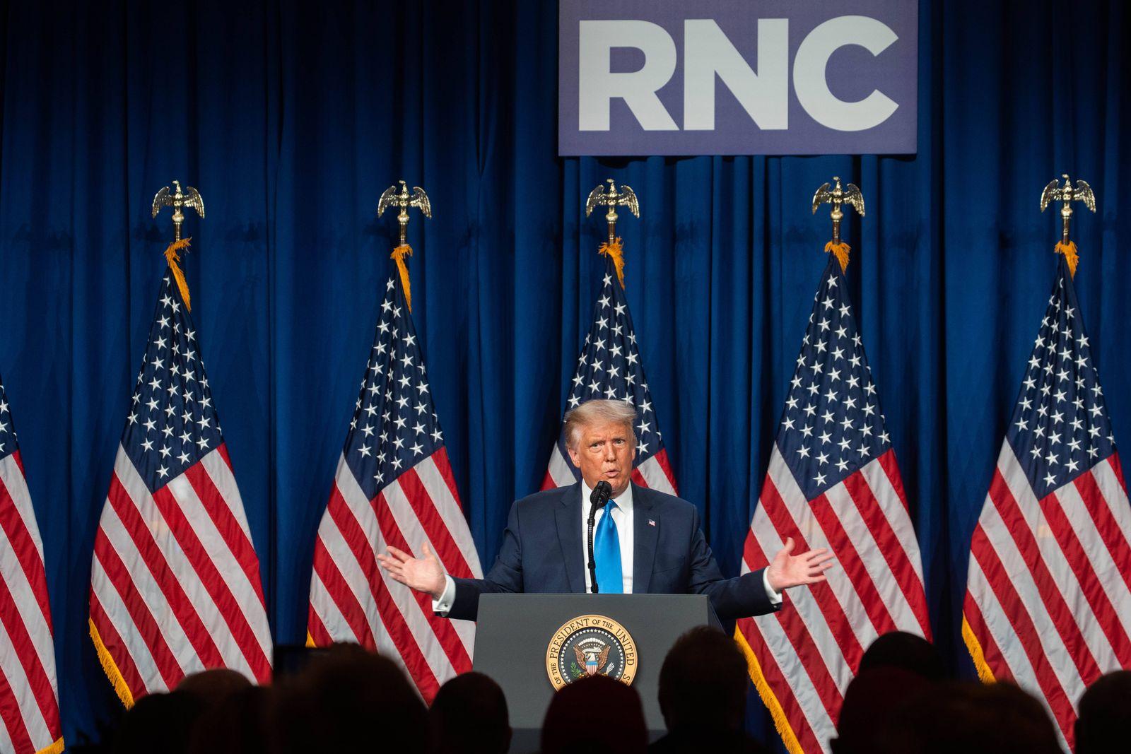 August 24, 2020, Charlotte, North Carolina, USA: United States President DONALD J. TRUMP speaks at the Republican Natio