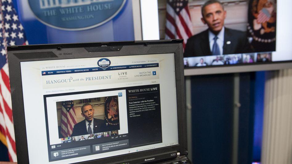 US-Präsident Obama im Google-Livestream (Archivbild): Jeder wird zum Sender