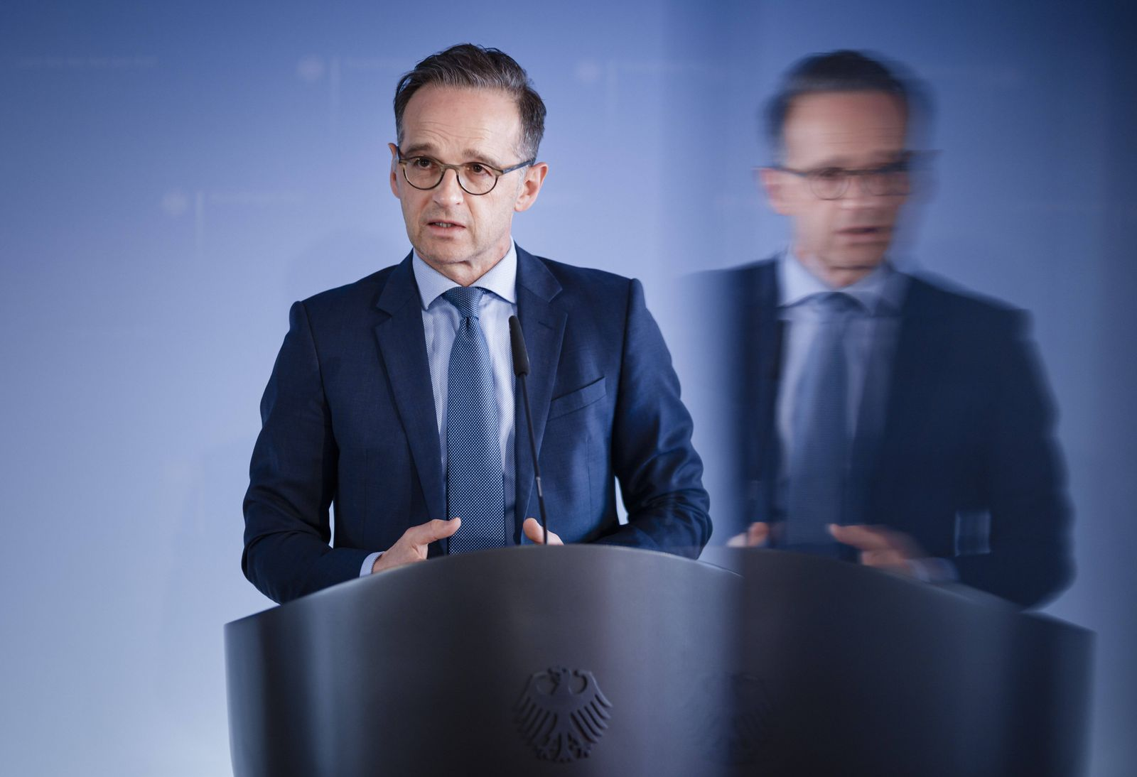 Bundesaussenminister Heiko Maas, SPD, bei einem Pressestatement in Berlin. 16.04.2020. Berlin Deutschland *** Federal F