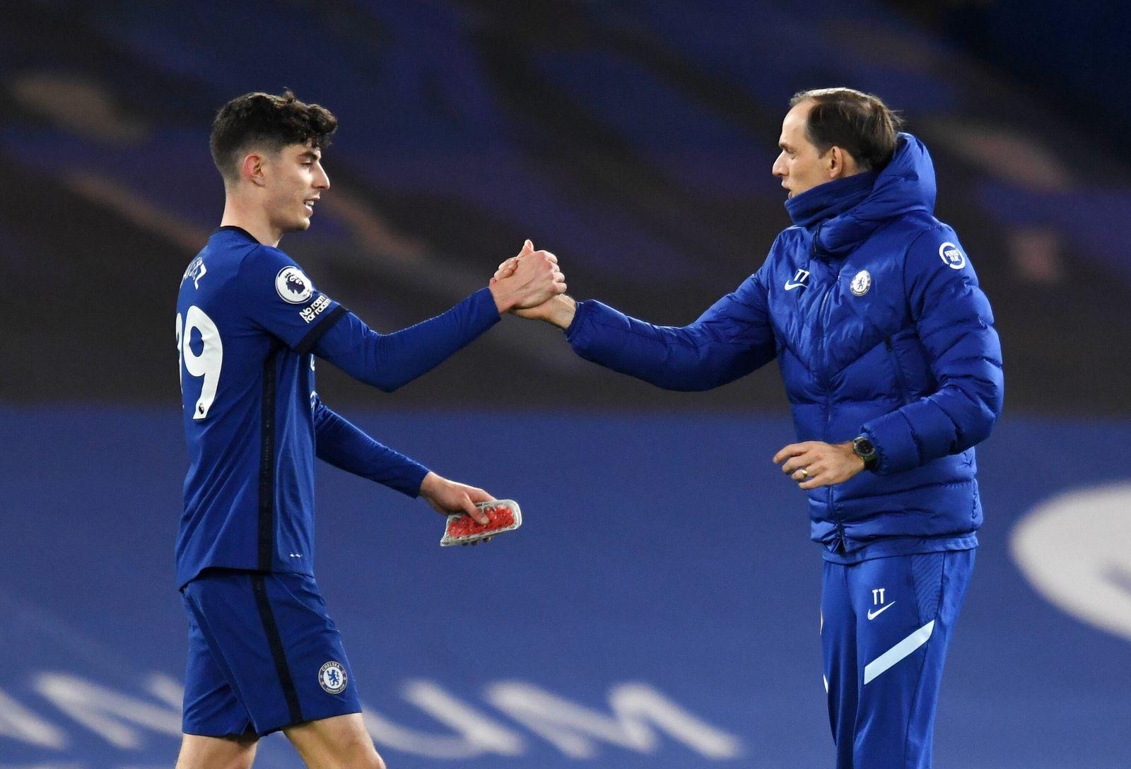 Chelsea v Everton - Premier League - Stamford Bridge Chelsea s Kai Havertz and Chelsea manager Thomas Tuchel after the