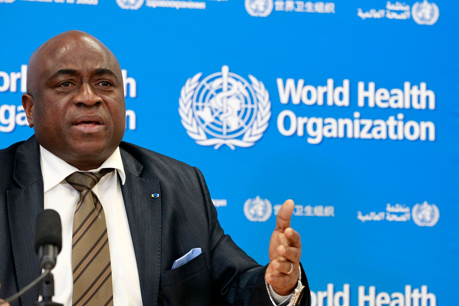 Guinea's Minister of Health Lamah speaks during WHO Virtual Press Conference in Geneva