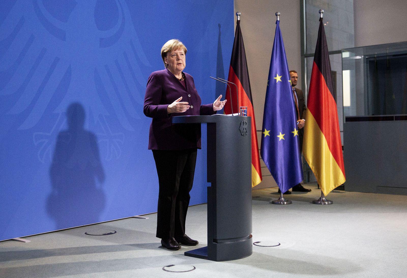 Merkel Holds Press Conference As Authorities Tighten Measures To Stem Coronavirus Spread