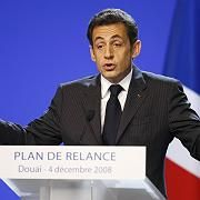"""French President Nicolas Sarkozy outlines his economic stimulus plan: """"Our answer to the crisis is investment."""""""