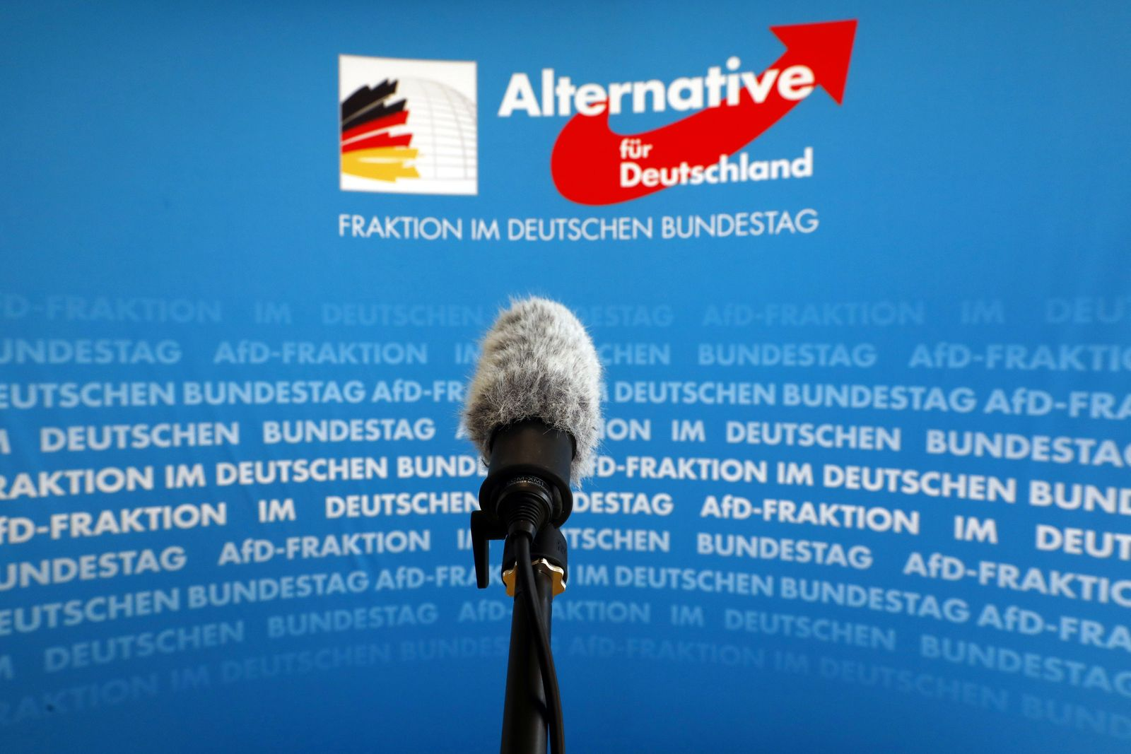 A microphone stands in front of an AfD logo on the press wall of the German Bundestag in Berlin