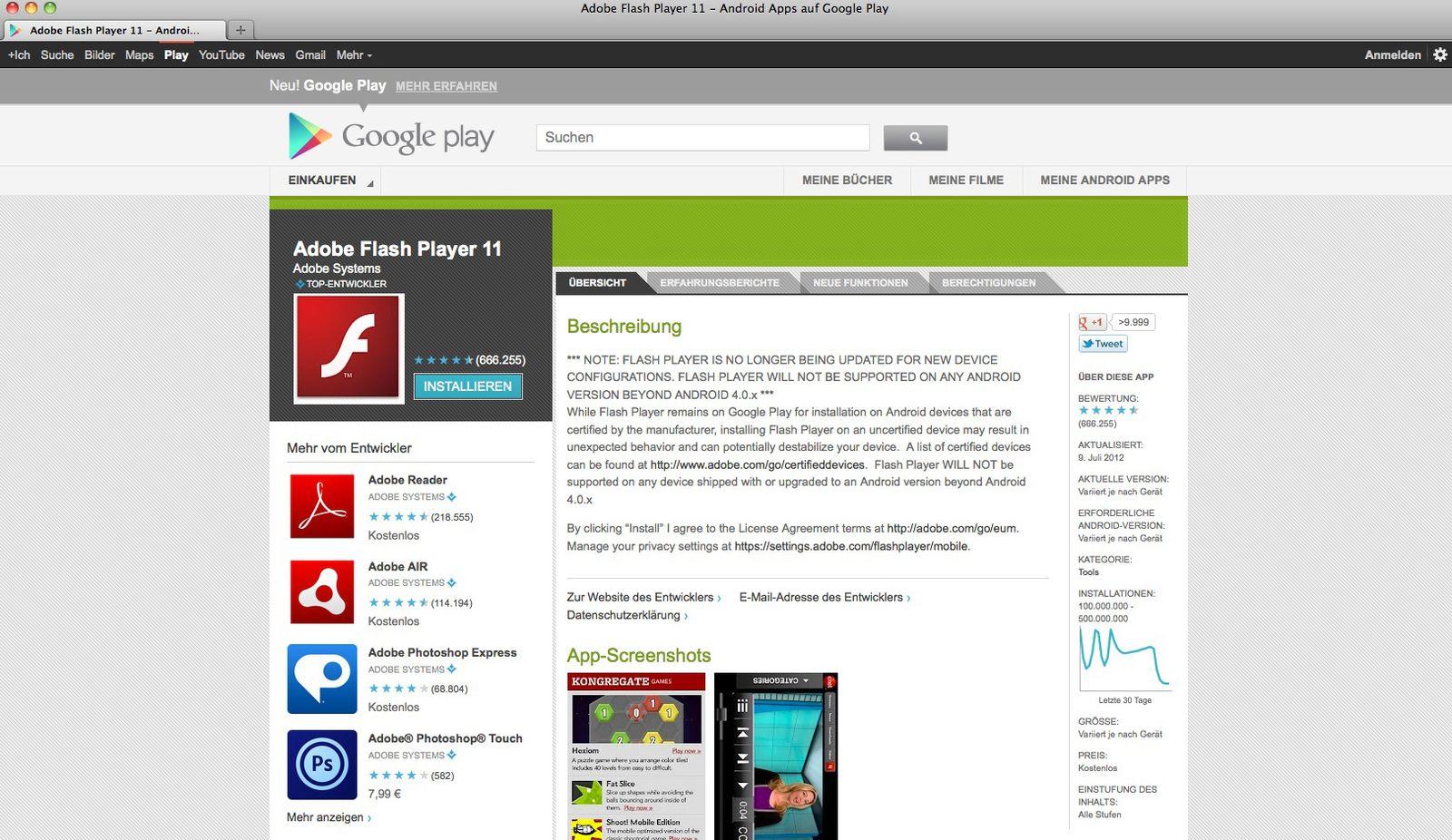 NUR ALS ZITAT Screenshot/ Flash Player Android