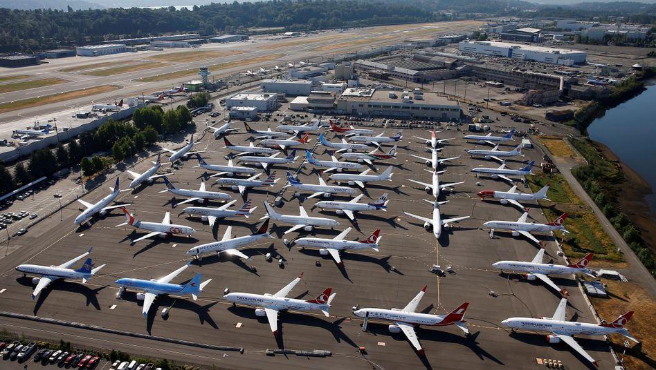 Geparkte 737-Max-Maschinen in Seattle (Archivbild): Bis zur Zulassung ist noch ein weiter Weg