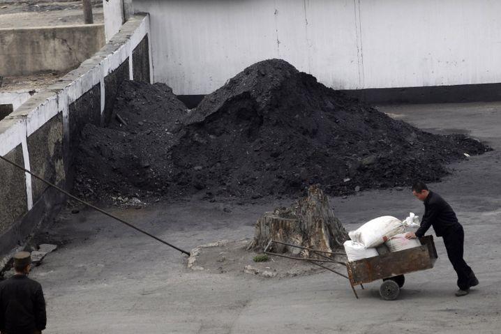 Ein Nordkoreaner vor einem Haufen Kohle, 2012
