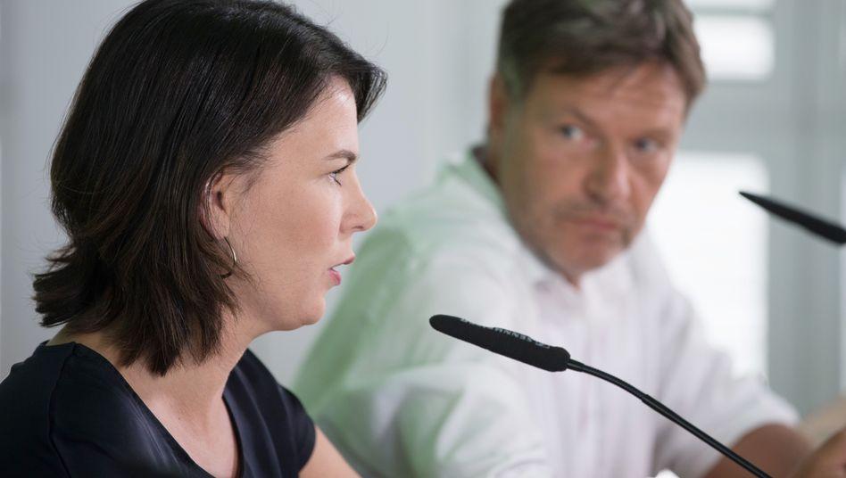 Robert Habeck und Annalena Baerbock bei einer Vorstandssitzung der Grünen (Archiv): Einthemenpartei