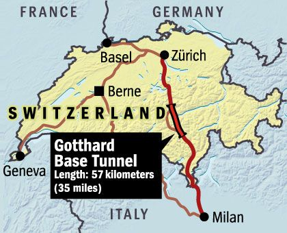The Gotthard tunnel will greatly cut travel times between Zürich and Milan.