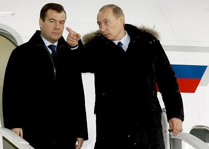 With Dmitry Medvedev (l.) soon to take over from President Vladimir Putin, Moscow is trying to play nice.