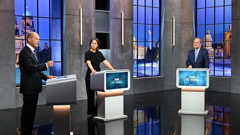 Olaf Scholz, Annalena Baerbock und Armin Laschet beim dritten TV-Triell