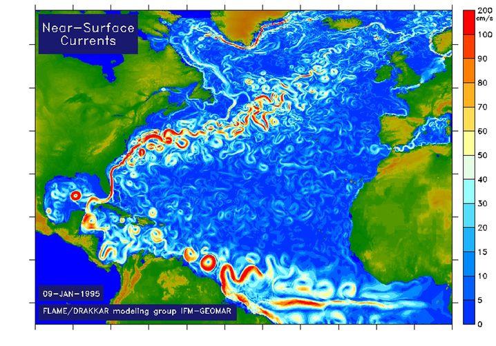 Oberflächennahe Zirkulation im Atlantik
