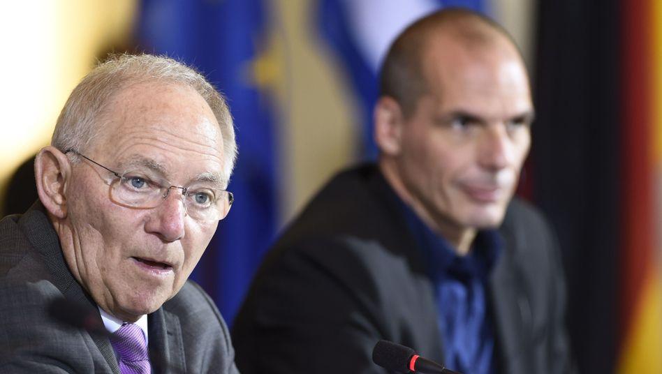 Schäuble und Varoufakis in Berlin: Abtasten statt angreifen