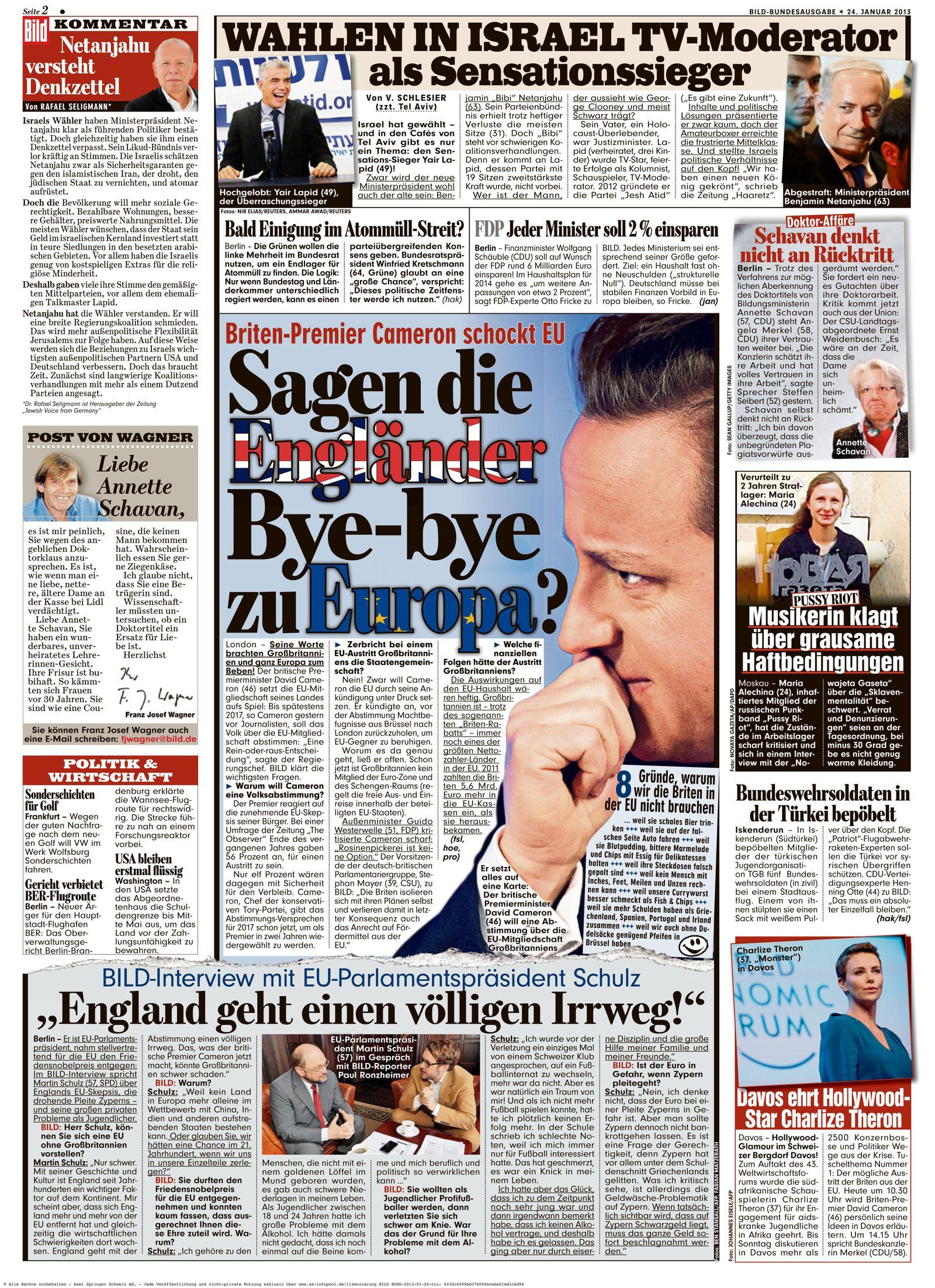 NUR ALS ZITAT BILD Zeitung/ Reaktionen auf Cameron Europa Rede