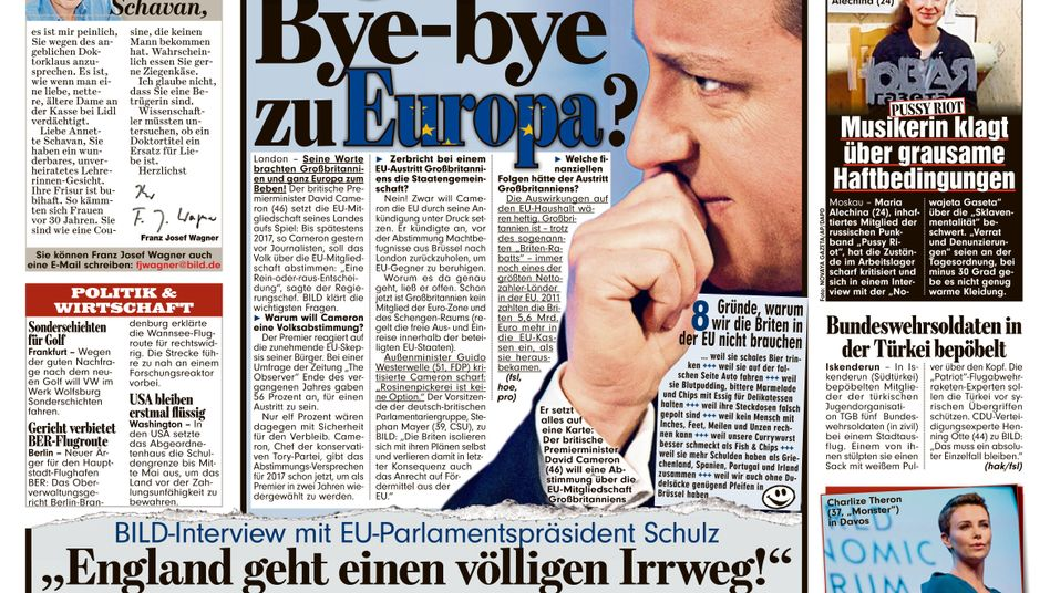 """A headline in the tabloid Bild asks if the English are saying """"bye-bye to Europe?"""""""