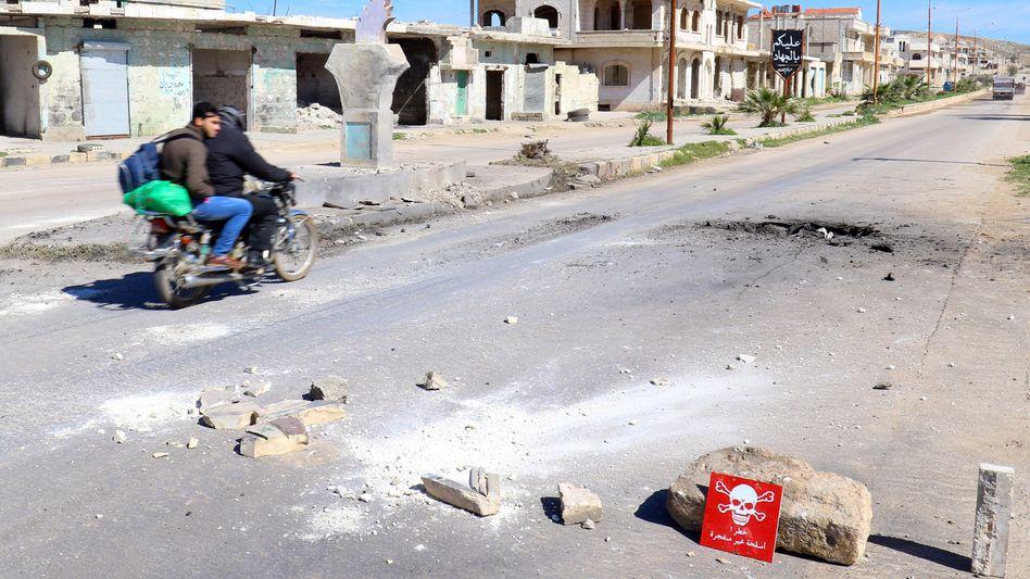 Warnzeichen nach mutmaßlichem Giftgasangriff in Syrien (Archivbild)