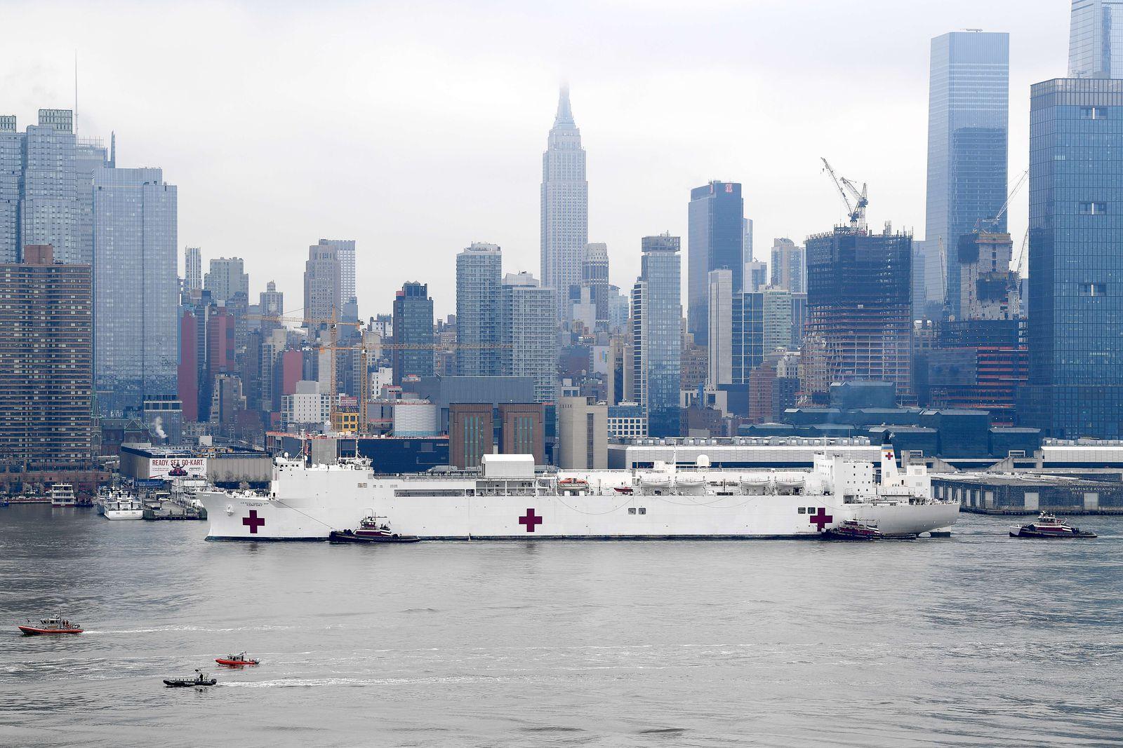 Hospital Ship USNS Comfort Arrives In New York As Coronavirus Overwhelms Medical Infrastructure