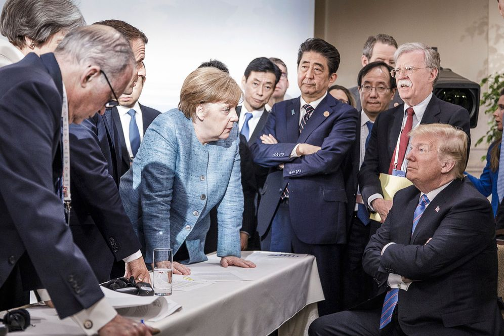 Merkel, Trump and other 2018 G-7 participants in Canada