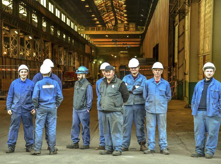 Arbeiter einer Metallfabrik im französischen Outreau im März 2017