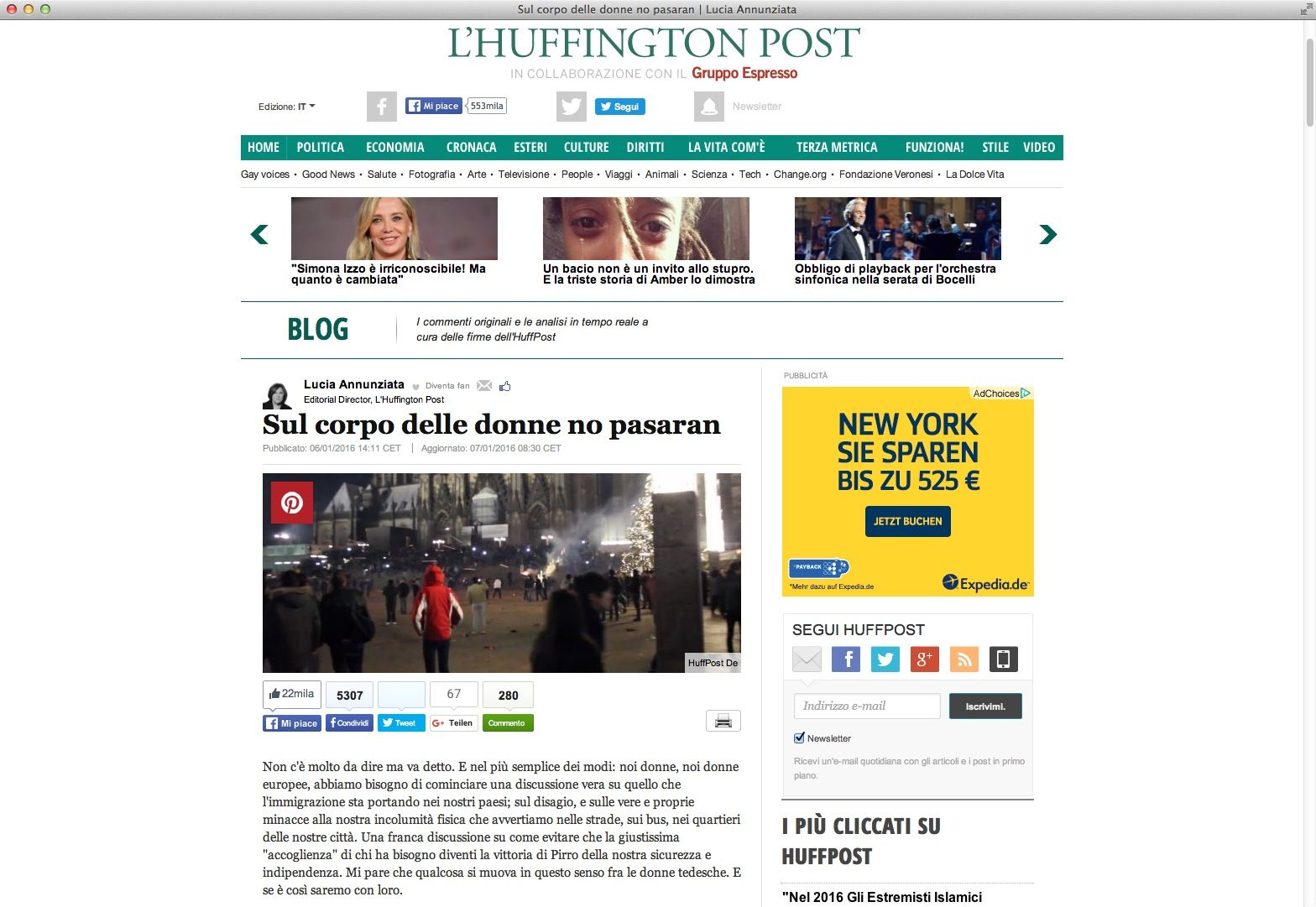NUR ALS ZITAT Screenshot Huffington Post / Italien / Ãbergriffe Köln