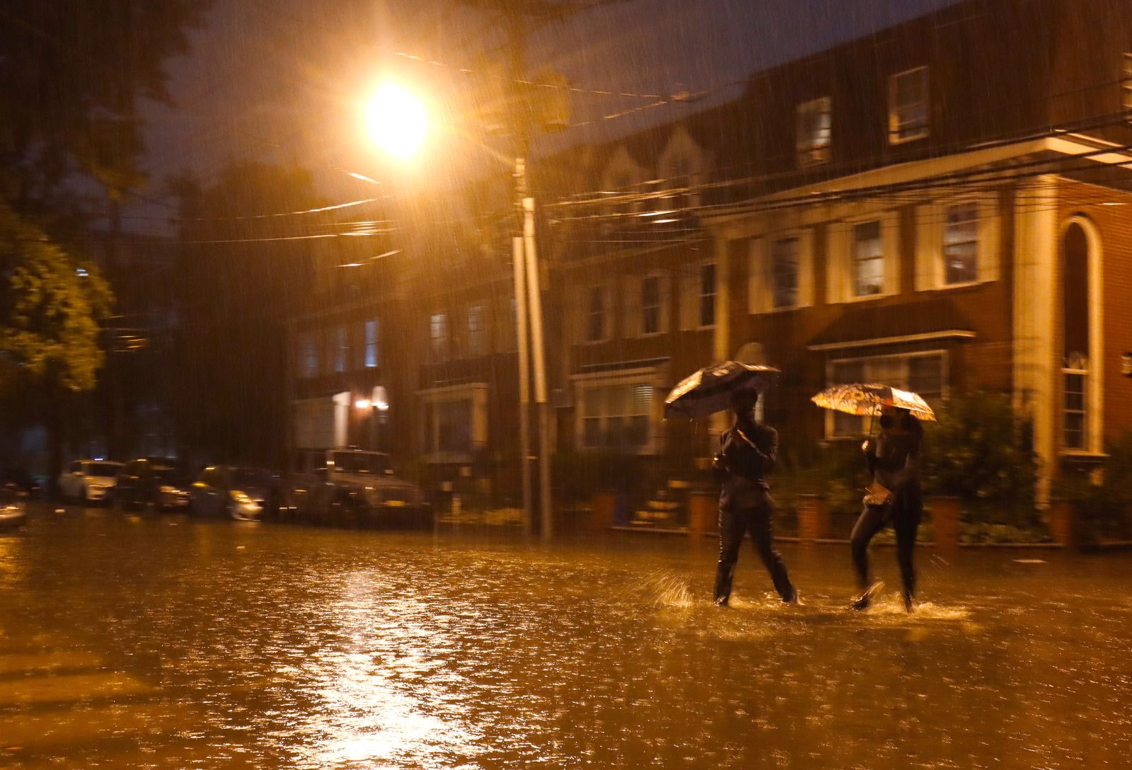 Remnants of Hurricane Ida Flood Streets in Hoboken, New Jersey